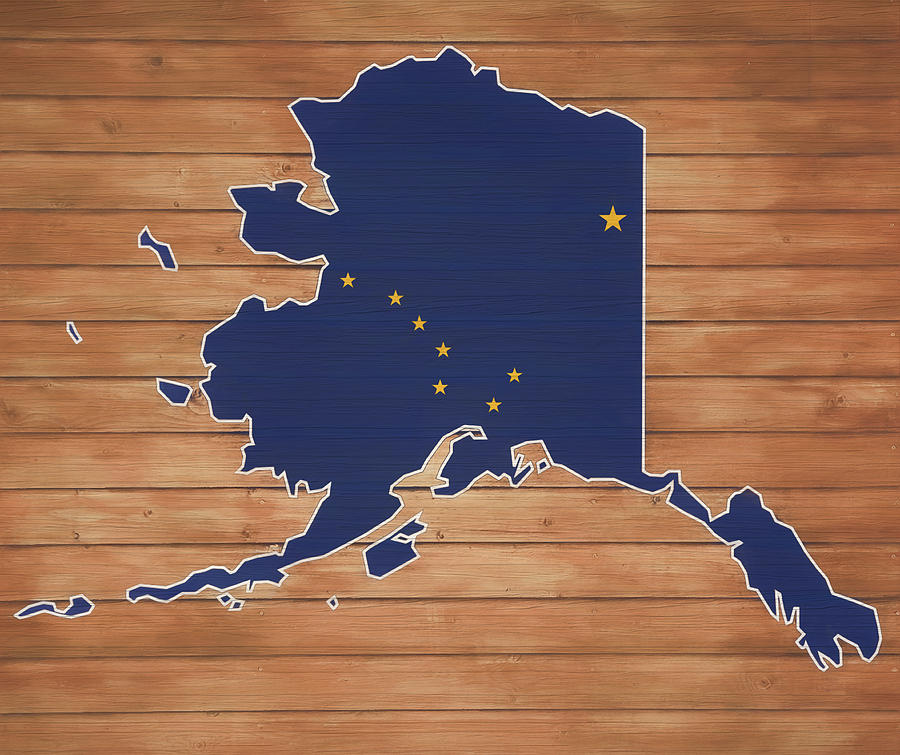 Alaska Map Mixed Media - Alaska Map And Flag On Wood by Dan Sproul
