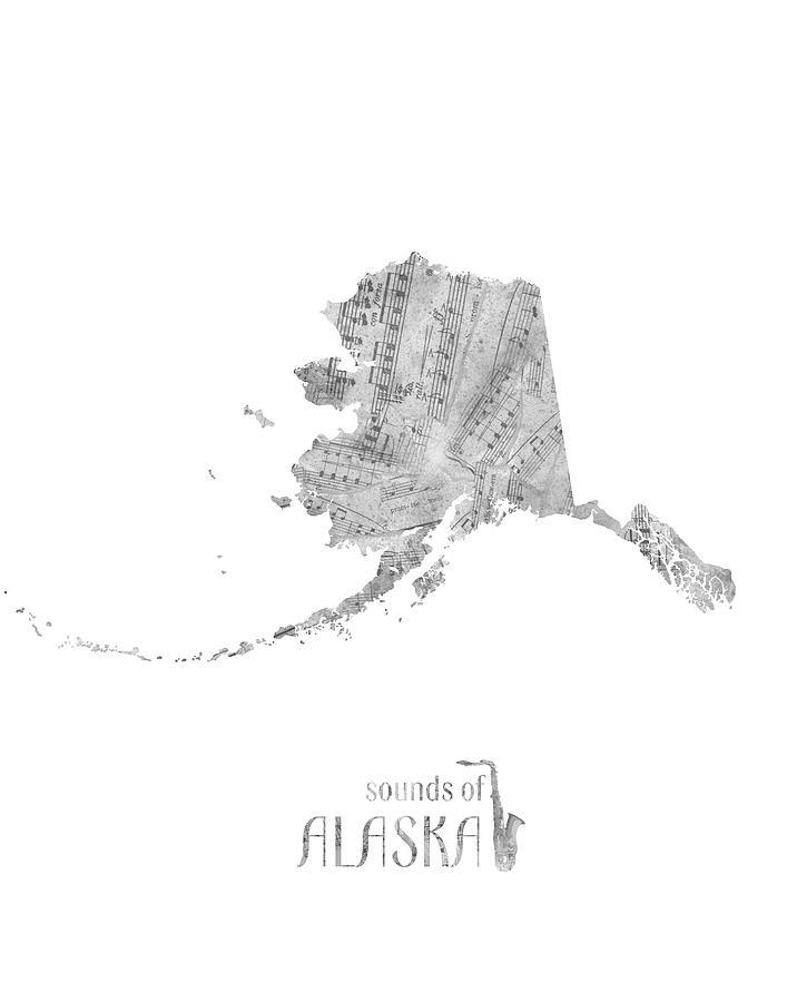 Alaska Map Music Notes Digital Art