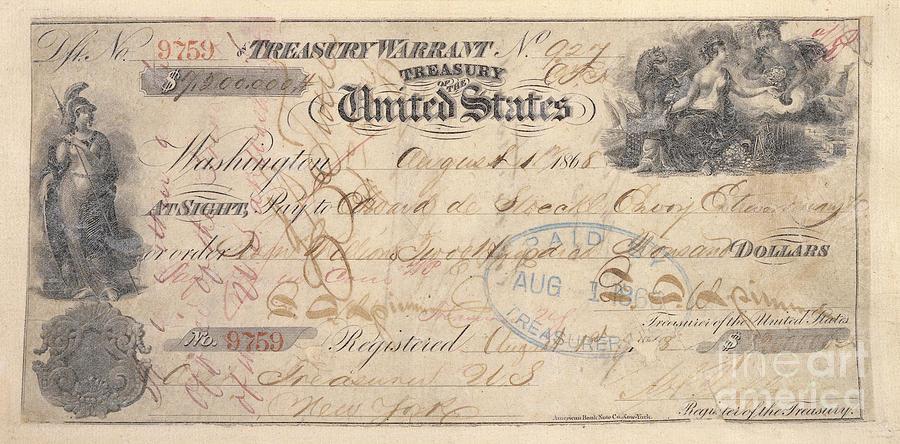 1867 Photograph - Alaska Purchase: Check by Granger
