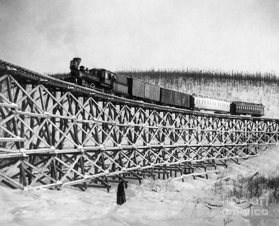 1916 Photograph - Alaska: Railroad, 1916 by Granger