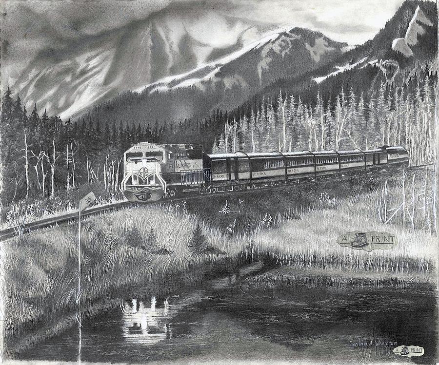 Whittier Drawing - Alaska Railroad Near Whittier by Cyndy Wahlgren