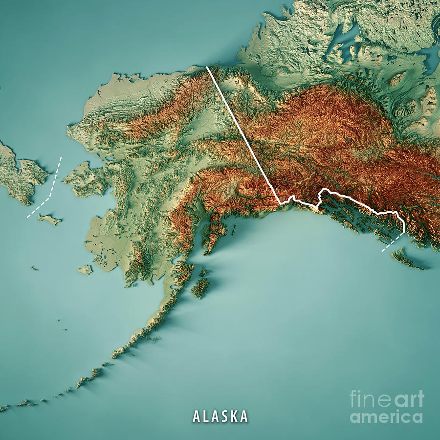 Alaska State 3d Render Topographic Map Border Digital Art By Frank