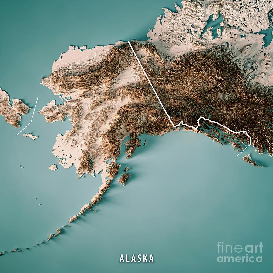 Alaska State 3d Render Topographic Map Neutral Border by Frank Ramspott