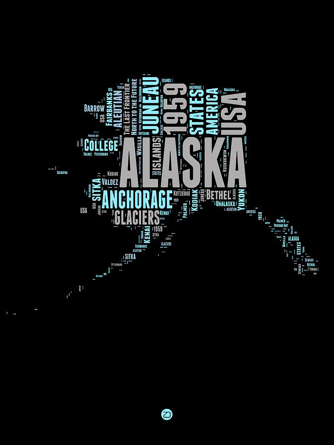 Alaska Digital Art - Alaska Word Cloud 1 by Naxart Studio