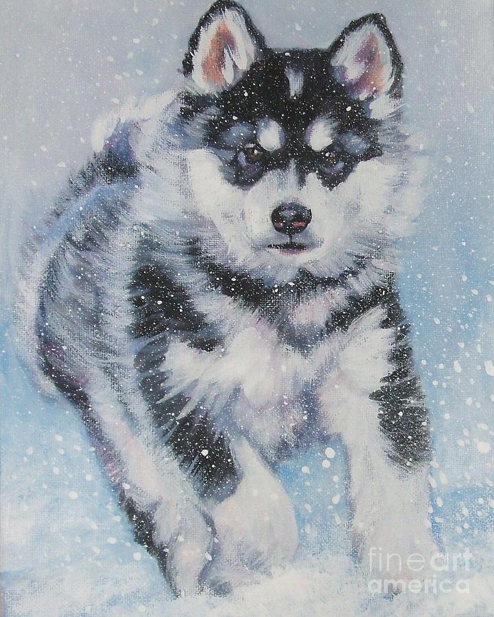 Dog Painting - alaskan Malamute pup in snow by Lee Ann Shepard