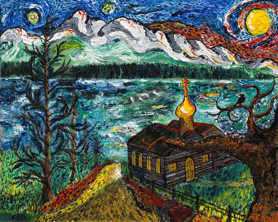 Van Gogh Style Painting - Alaskan Orthodox Church by Arnold Bernstein