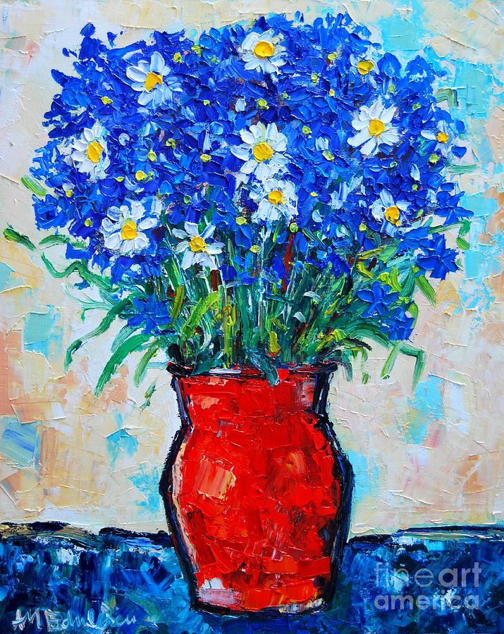 Cornflowers Painting - Albastrele Blue Flowers And Daisies by Ana Maria Edulescu