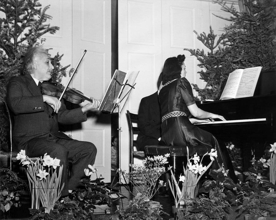History Photograph - Albert Einstein Giving A Violin Recital by Everett