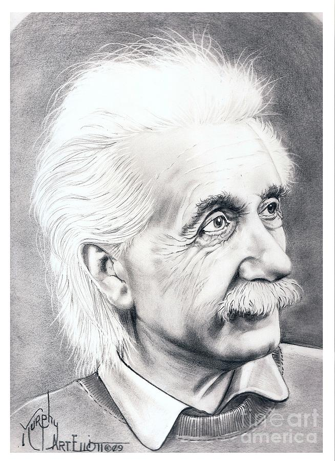 Portrait Drawing - Albert Einstein  by Murphy Elliott