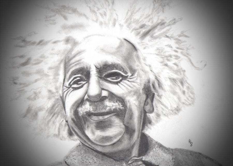 Albert Einstein Drawing - Albert Einstein by Ryan Bell