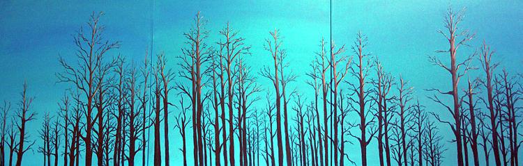 Landscape Painting - Alberta Blue Triptych by Joanne Giesbrecht