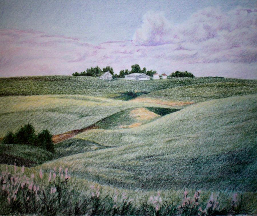 Farm Drawing - Alberta Province Farm by Theresa Higby