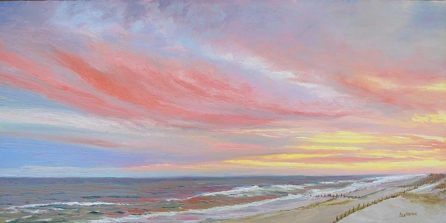 Seascape Painting - Albertas Sunset by Lea Novak