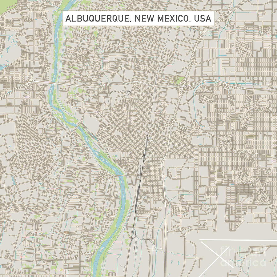 Albuquerque New Mexico Us City Street Map Digital Art by Frank Ramspott