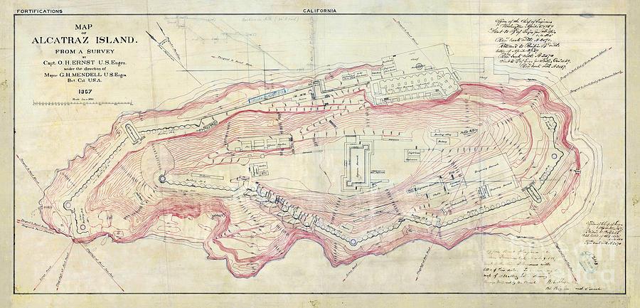 Alcatraz Island Map Circa Photograph By Jon Neidert - Us map 1867