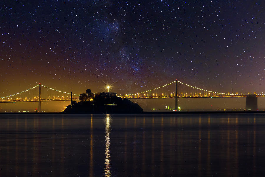 Alcatraz Island Photograph - Alcatraz Island Under The Starry Night Sky by David Gn