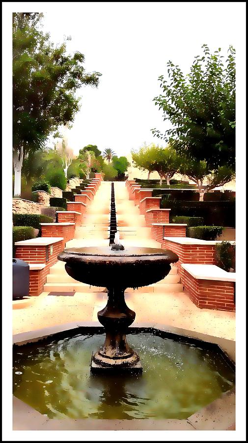 Spain Digital Art - Alcazaba Fountain by Alicia Guerrero