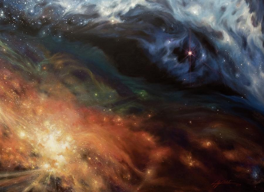 Star And Space Painting - Alchemy Of Light by Lucy West