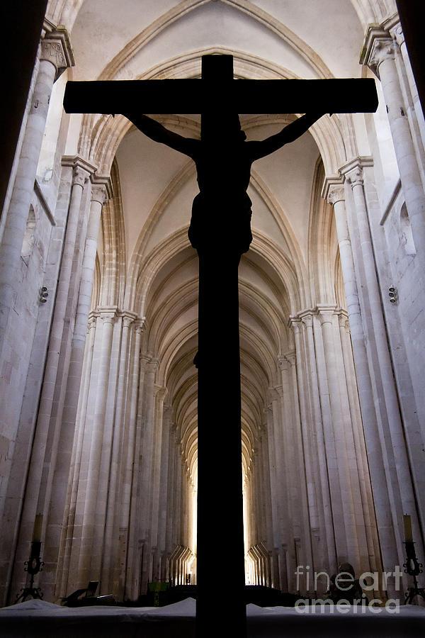 Jesus Photograph - Alcobaca Monastery Church Crucifix by Jose Elias - Sofia Pereira