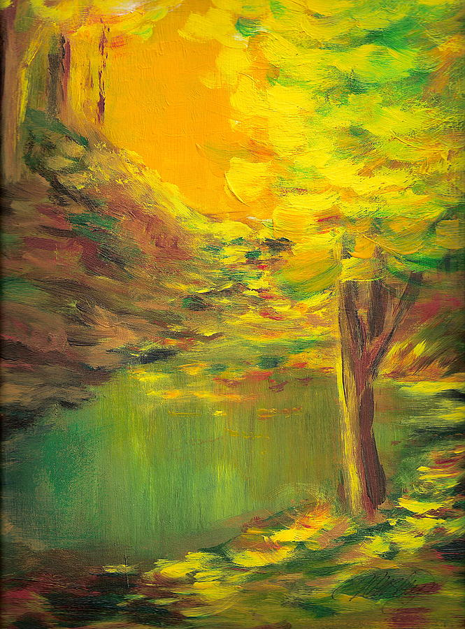 Landscape Painting - Aldergrove Lake by Vi Mosley
