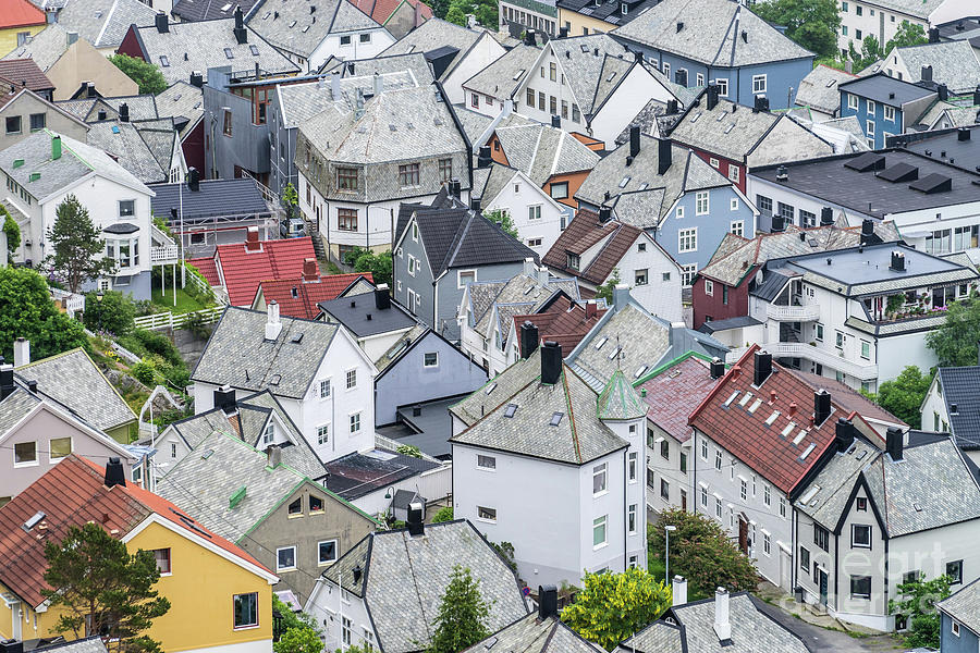 Alesund Photograph - Alesund roof patchwork by Paolo Sirtori