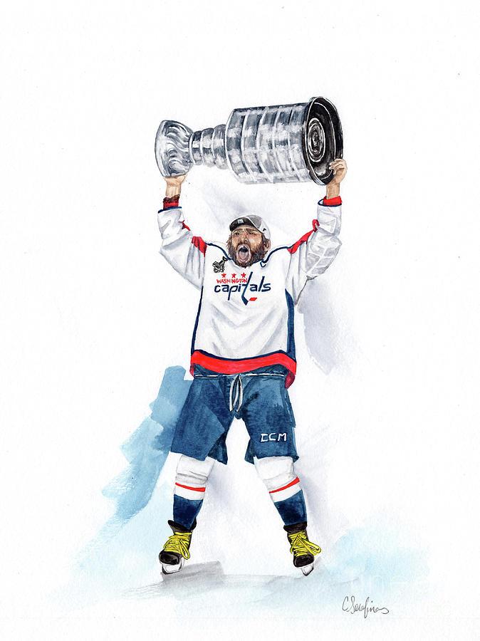 Alex Ovechkin Painting - Alex Oveckhkin Stanley Cup Win by Caroline Serafinas