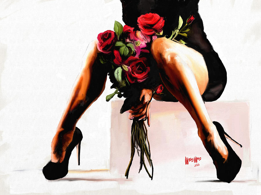 Legs Painting - Alexa With Flowers by Dillan Weems