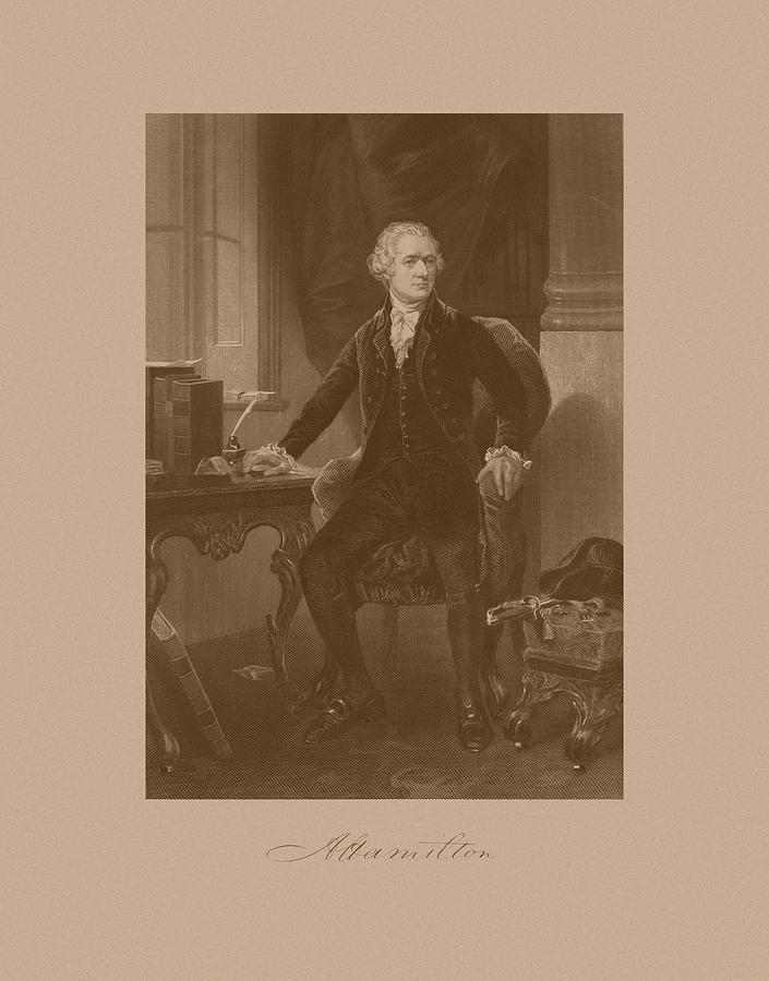 Alexander Hamilton Mixed Media - Alexander Hamilton Sitting At His Desk by War Is Hell Store