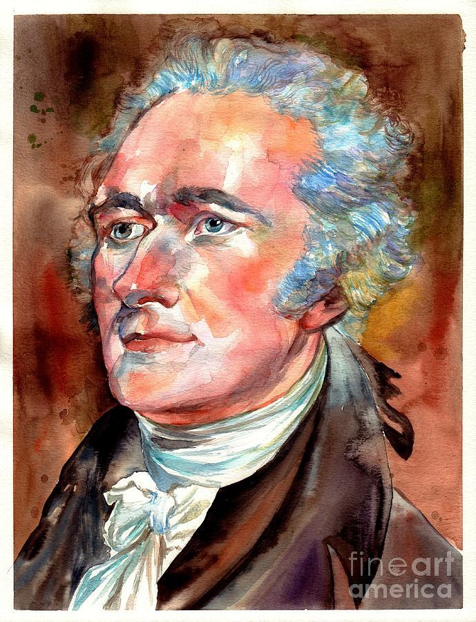 Alexander Painting - Alexander Hamilton watercolor by Suzann Sines