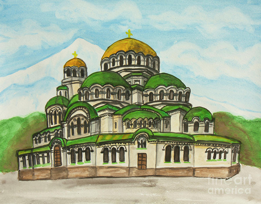 Alexander Nevsky cathedral in Sofia, Bulgaria, painting by Irina Afonskaya
