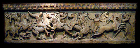 Roman Sculpture - Alexander The Great Sarcophagus Wall Plaque Hunt Scene by Goran