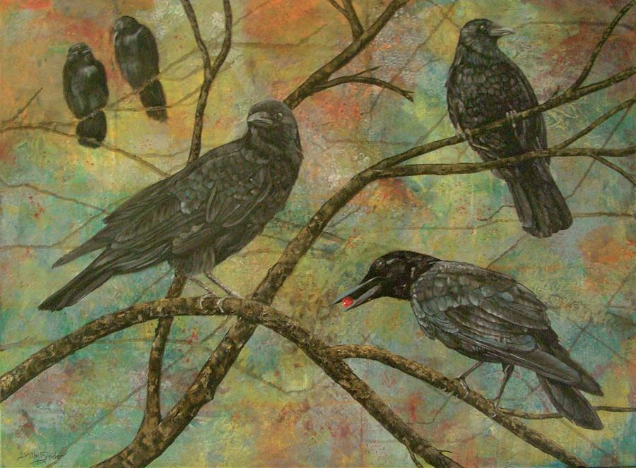 Crows Painting - Alexs Crows by Cynthia Snider