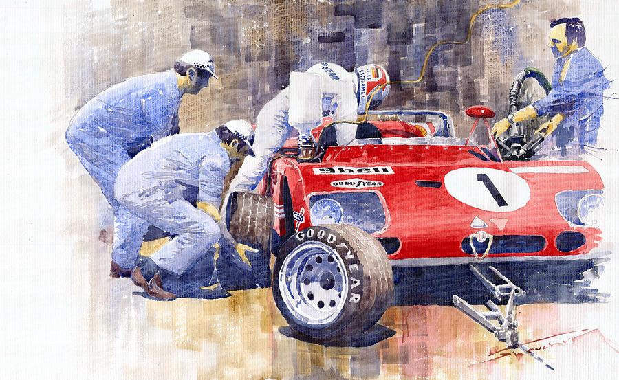 Watercolor Painting - Alfa Romeo 33tt3 Targa Floria 1972 Vaccarella Stommelen by Yuriy Shevchuk