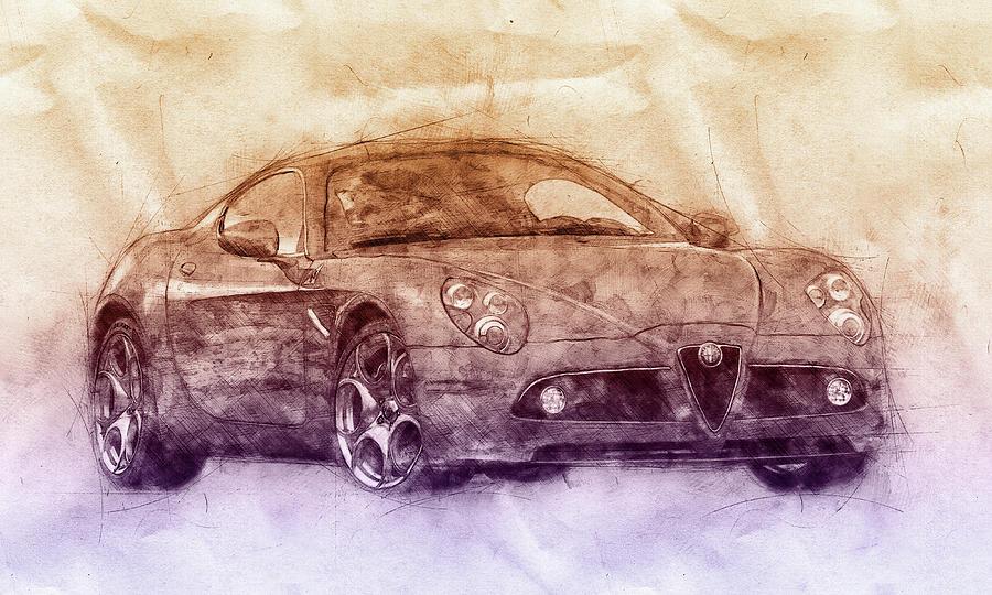 Alfa Romeo 8c Competizione 2 - Sports Car - Automotive Art - Car Posters Mixed Media