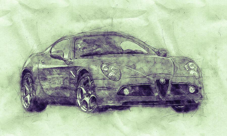 Alfa Romeo 8c Competizione 3 - Sports Car - Automotive Art - Car Posters Mixed Media