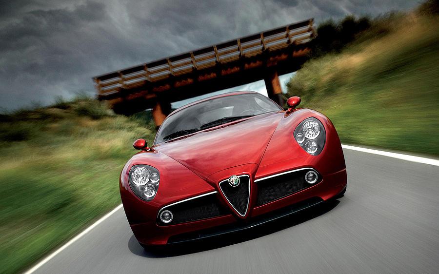 Alfa Romeo 8c Competizione Digital Art - Alfa Romeo 8c Competizione by Dorothy Binder