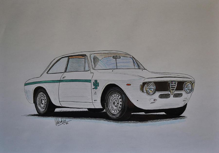 Alfa Romeo Drawing - Alfa Romeo Giulia Gta by Valentin Domovic