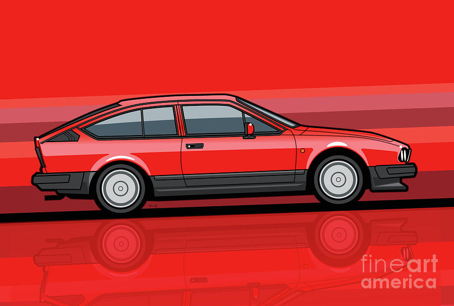 Alfa Romeo Digital Art - Alfa Romeo Gtv6 Red Stripes by Monkey Crisis On Mars