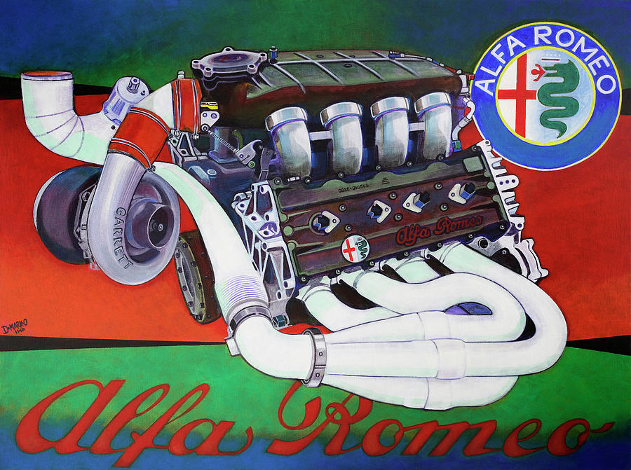 Race Engine Painting - Alfa Romeo Indy Engine by D-mark-o