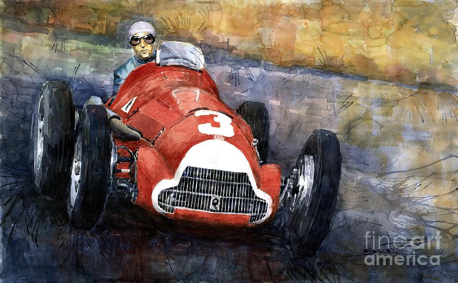 Autosport Painting - Alfa Romeo158 British Gp 1950 Luigi Fagioli by Yuriy  Shevchuk