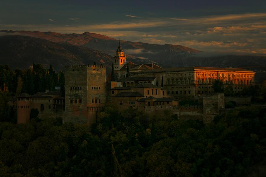 Alhambra Photograph - Alhambra at Sunset by Jonathan Hansen