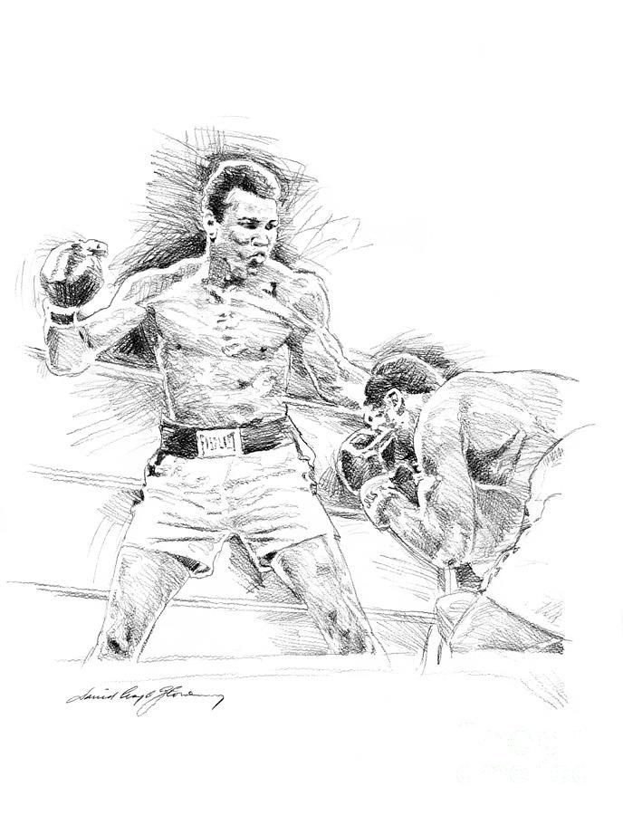 Ali Drawing - Ali And Frazier by David Lloyd Glover