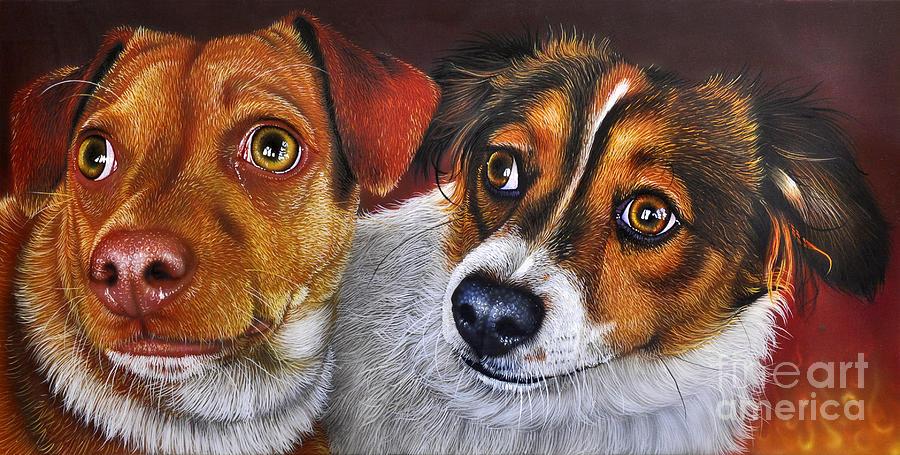 Puppies Painting - Ali And Ilu by Jurek Zamoyski