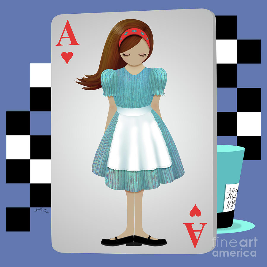 Alice In Wonderland Digital Art - Alice 3d Flying Cards by Audra Lemke