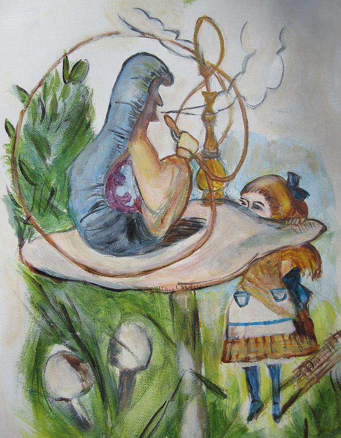 Alice In Wonderland Painting - Alice And The Caterpillar by Denice Palanuk Wilson