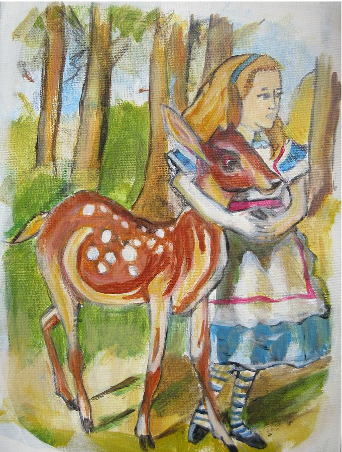 Woods Painting - Alice And The Deer by Denice Palanuk Wilson