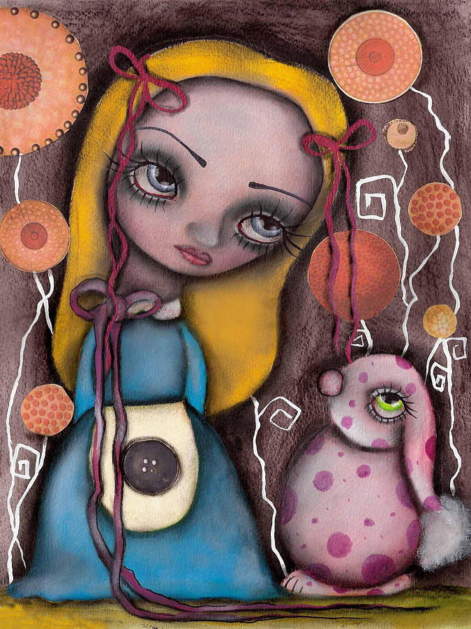 Alice In Wonderland Painting - Alice And The Pink Bunny by  Abril Andrade Griffith