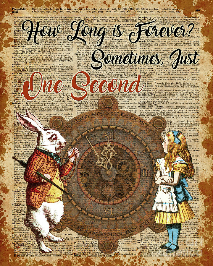 alice and white rabbit vintage dictionary art quote mixed