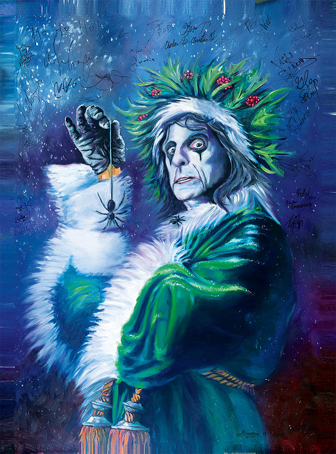 Alice Cooper Christmas Theme Painting by Daniel Livingston