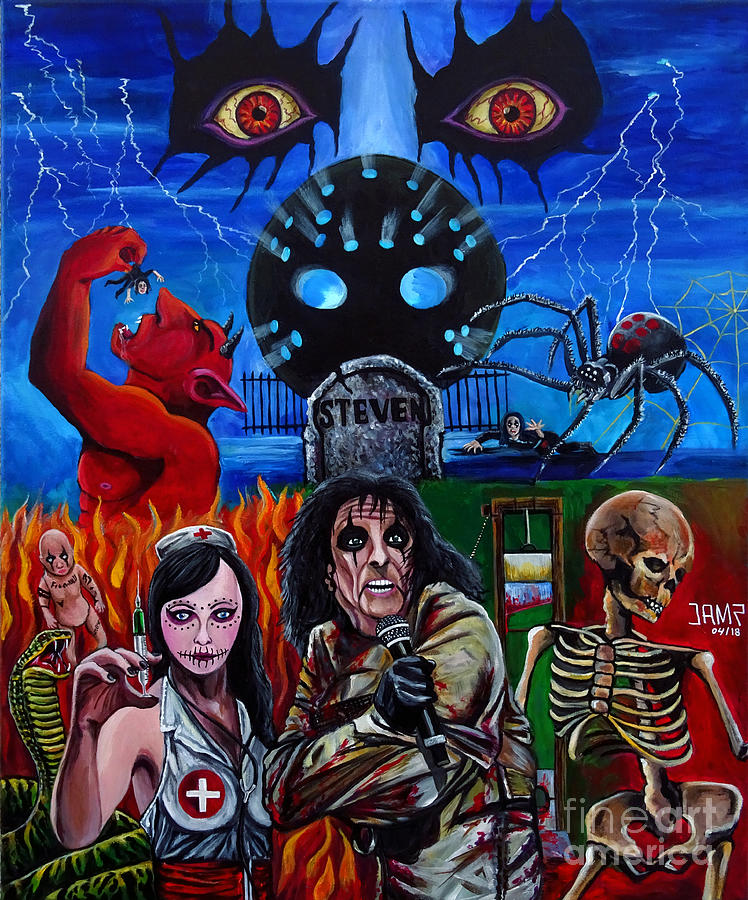 Alice Cooper Painting - Alice Cooper Nightmare by Jose Mendez